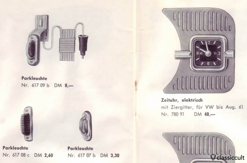 GHE parking lights for VW Bug, source: GHE Happich VW accessories brochure 1963