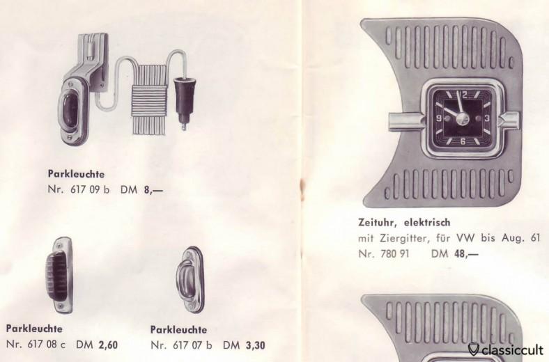 GHE feux de stationnement pour VW Bug, source: accessoires GHE Happich VW brochure 1963