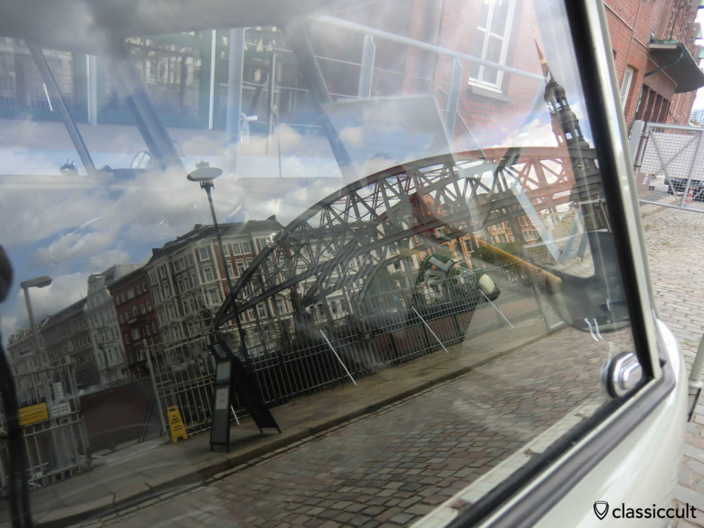 Hamburg Speicherstadt reflection on German Customs VW T1 window