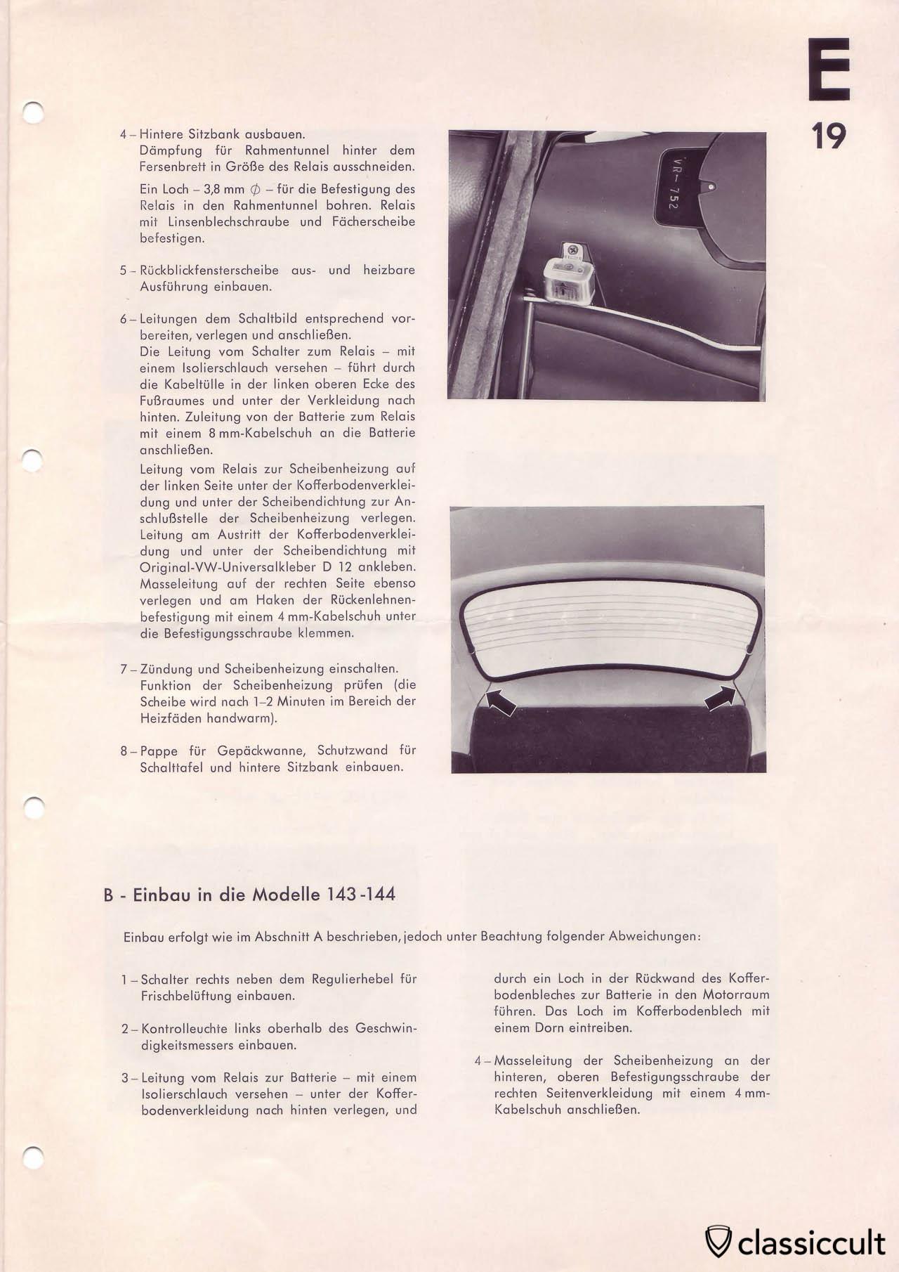 Heated rear window in VW Beetle mounting instructions.