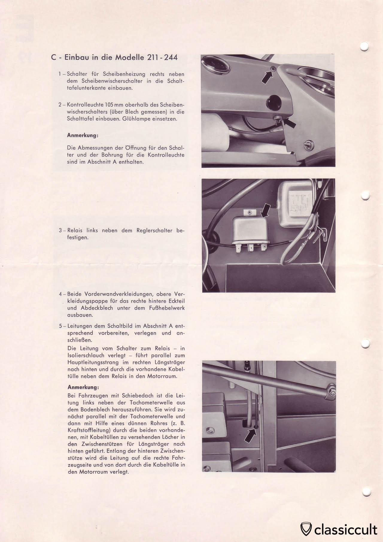 Heated rear window in VW T1 Split Bus mounting instructions.