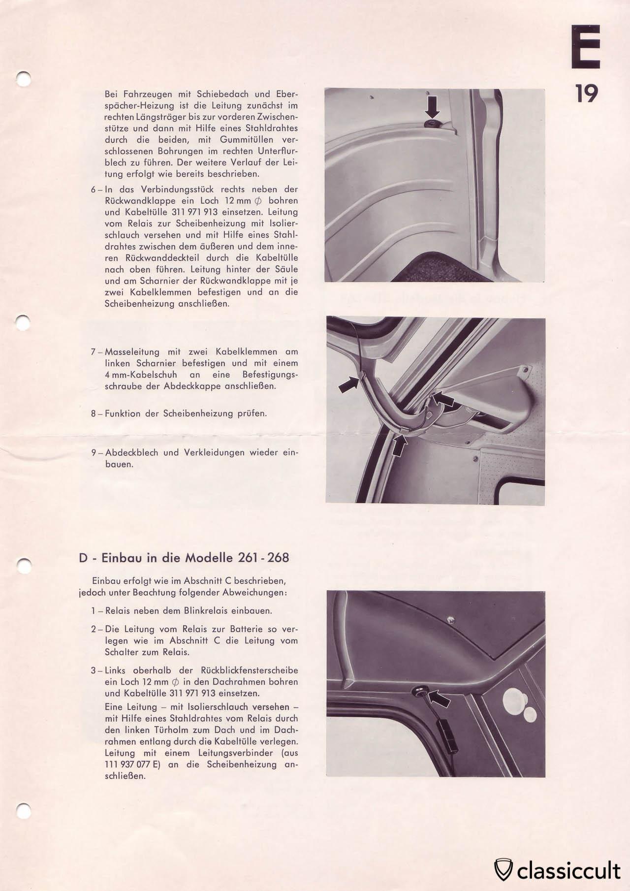 Heated rear window in VW Bus mounting instructions.