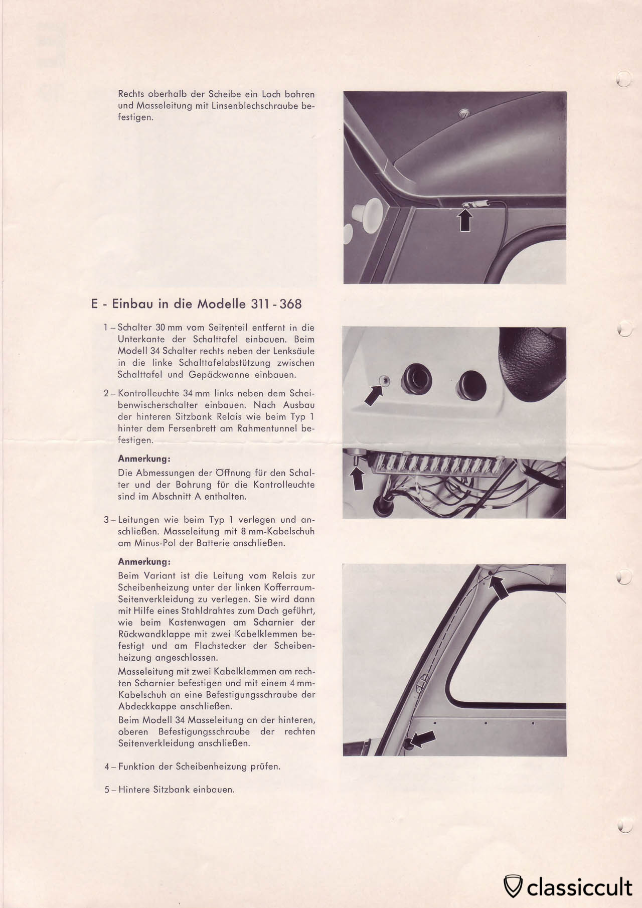Heated rear window in VW Type 3 mounting instructions.
