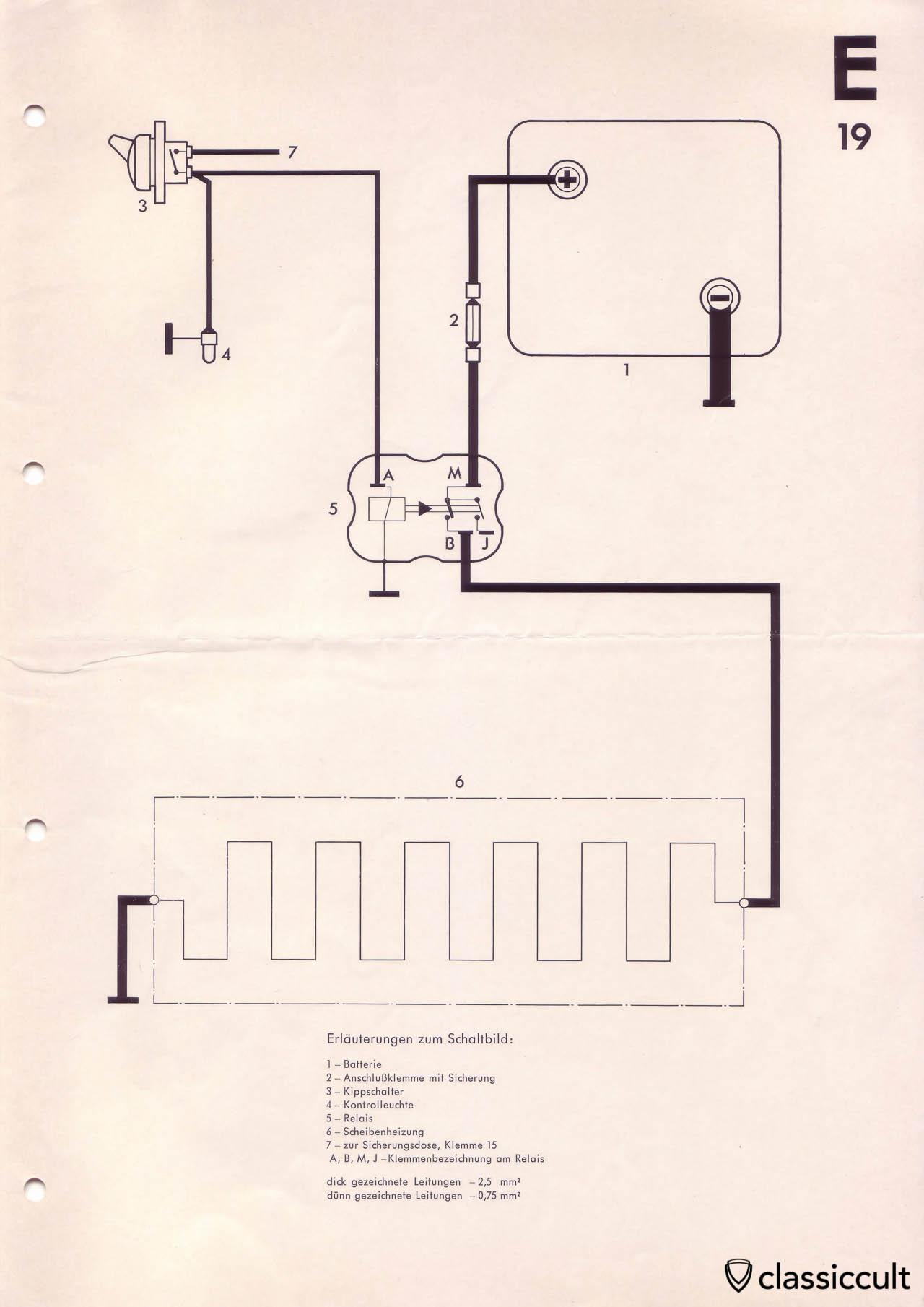 Heated rear window in classic VW wiring instructions.