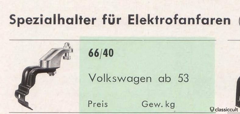 Hella fanfare horn bracket VW oval 1953-1957