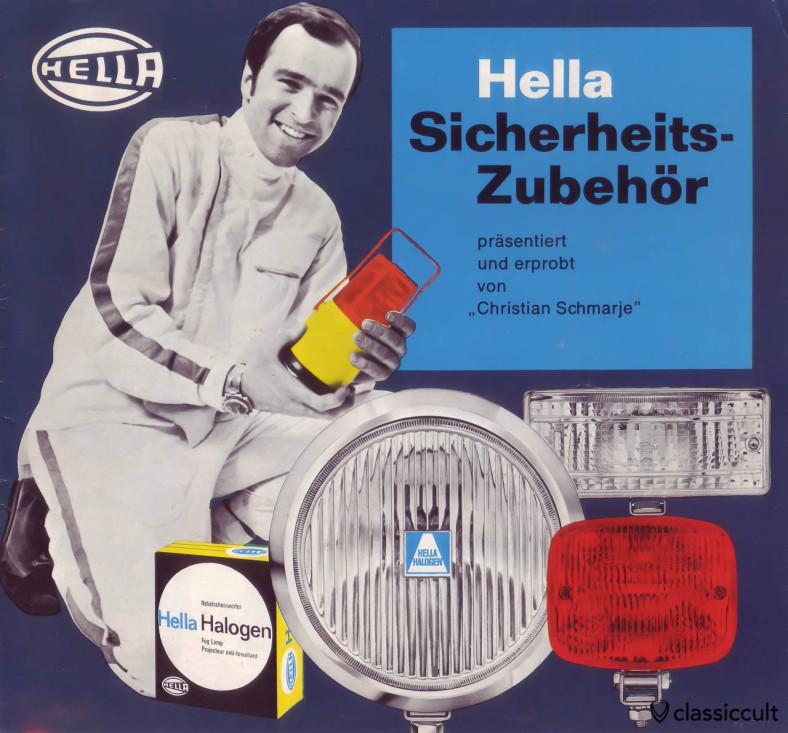 Hella Fog Lights Lamp Accessory Light Brochure 1969, with German rally legend Christian Schmarje.