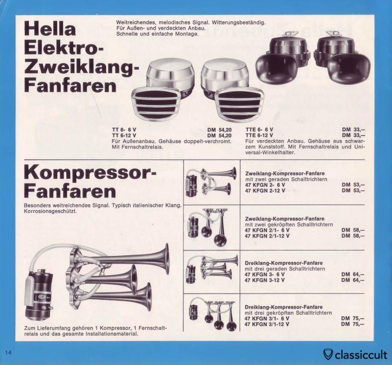 Hella Fanfare Horn for 6V and 12V.
