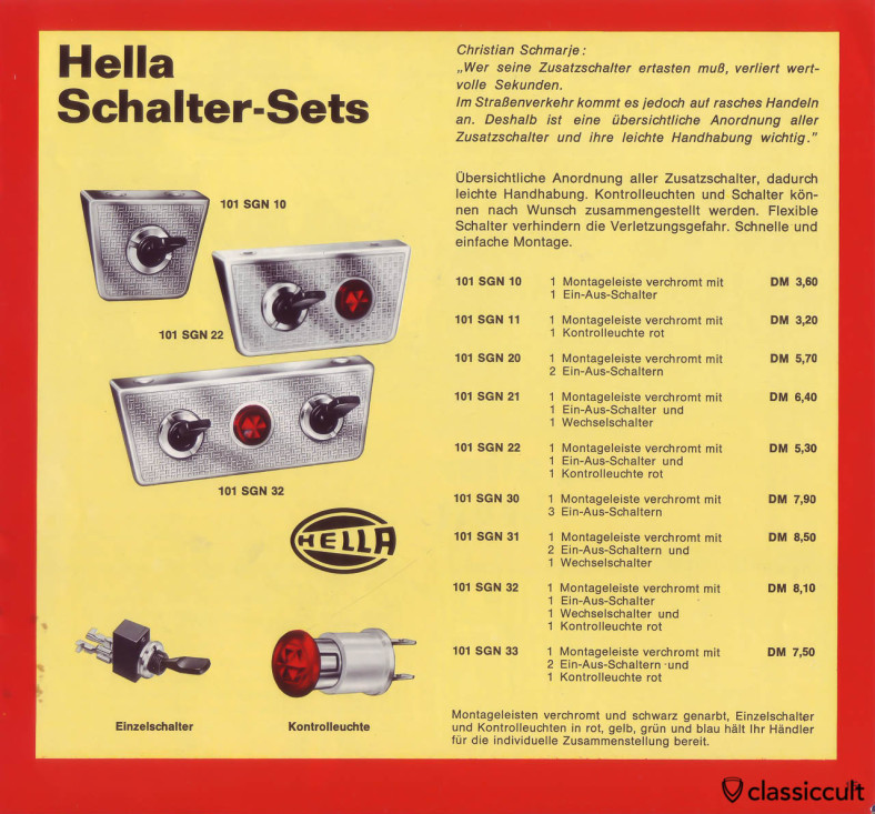 Hella accessory switches and control lights.