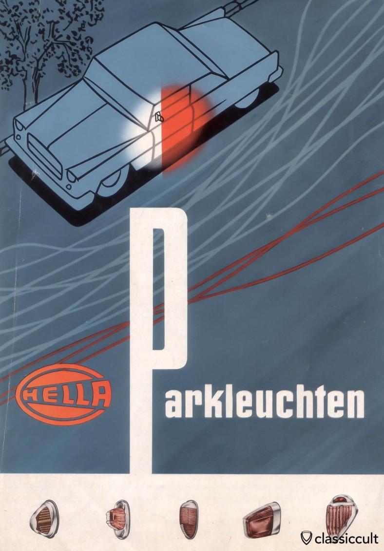 Vintage Hella feux de stationnement, source: Hella brochure 1959