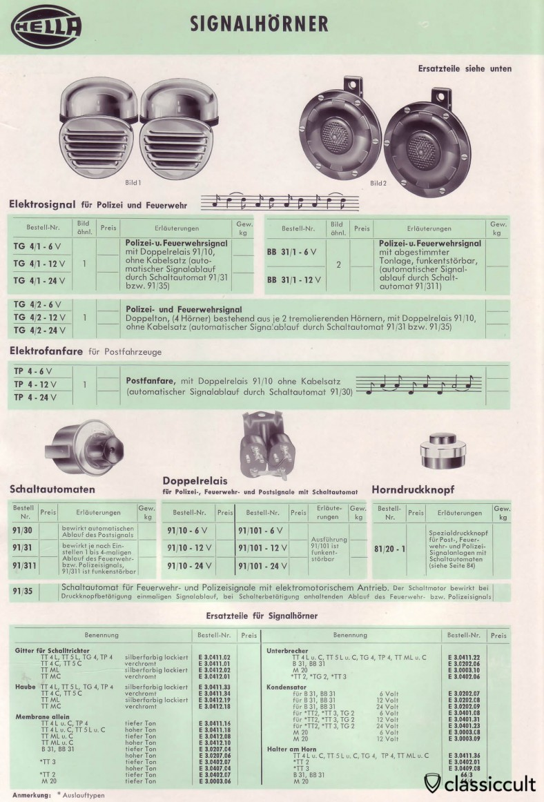 Hella signal fanfare horns, Schaltautomaten (special switch), double relay for Police and fire department, scanned from Hella 1955 catalog
