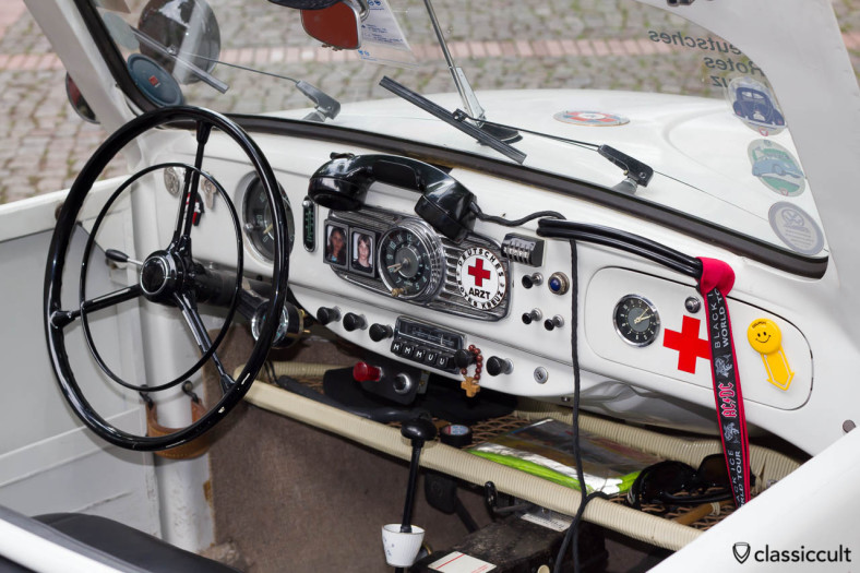 VW Beetle Papler Karosserie Köln 1952 Deutsches Rotes Kreuz, dashboard with Red Cross accessories and a special emergence telephone, WOW, WOW, WOW, Vintage VW Treffen Hessisch Oldendorf 2013