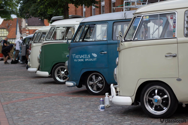 VW Split Bus line up, slammed, at 8:10 a.m., cleaning and getting show ready, Hessisch Oldendorf VW Show 2013