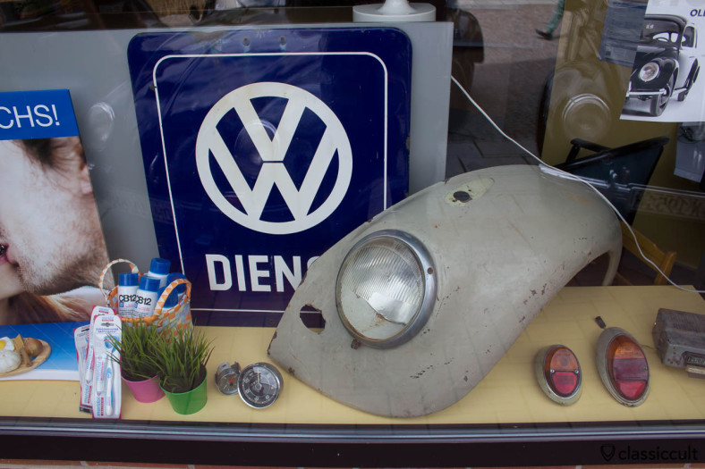Pharmacy display window with spare VW parts at Hessisch Oldendorf Vintage Volkswagen Show 2013