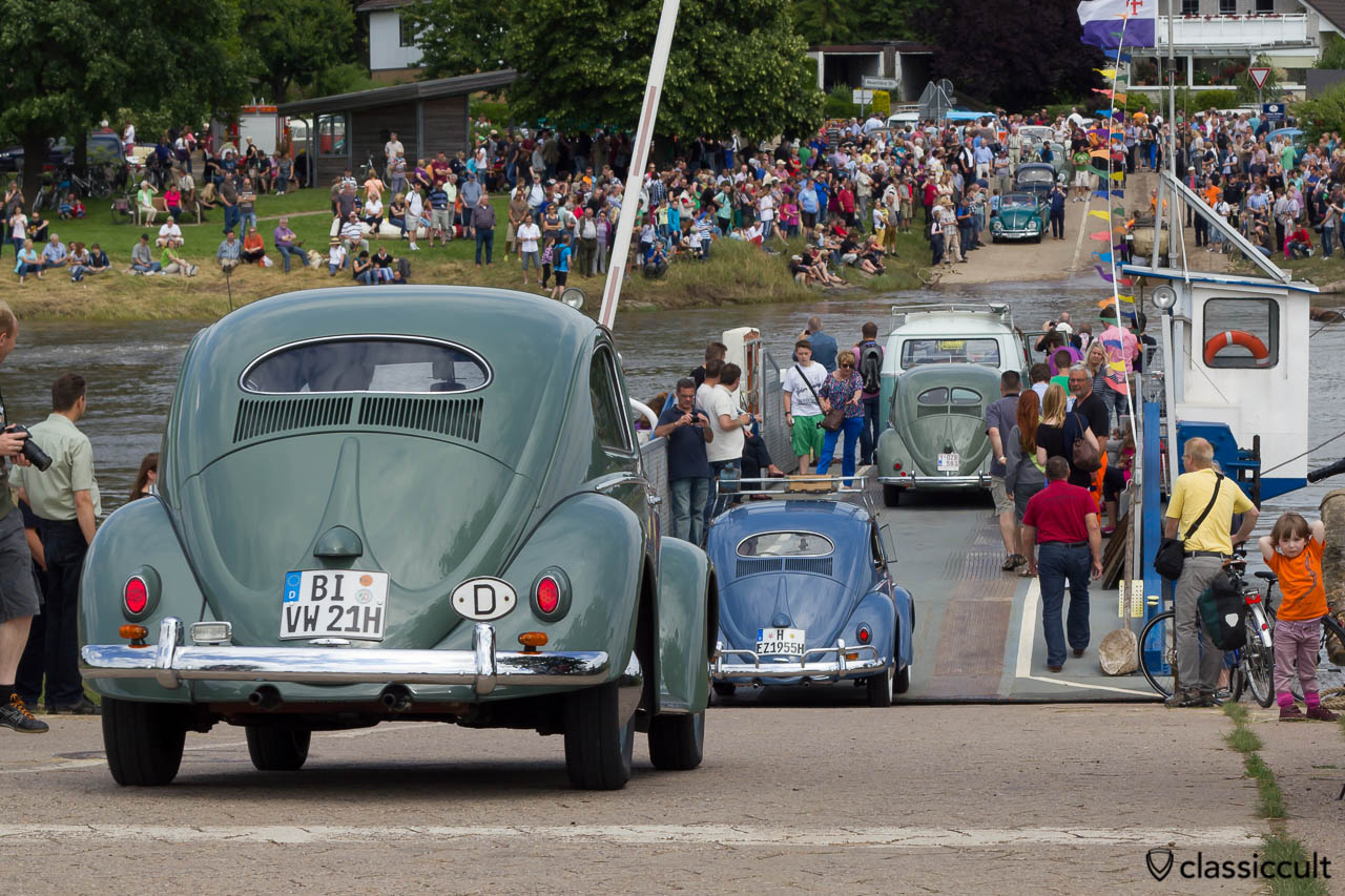 Vintage Volkswagen ready for boarding the car ferry to cross the Weser River near Hessisch Oldendorf, June 22, 2013