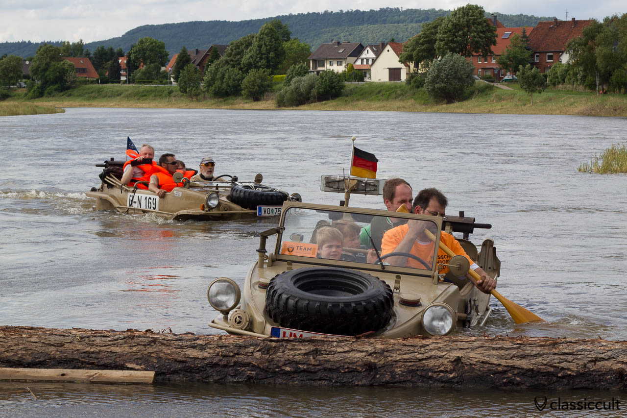 two VW Schwimmwagen in the Weser River, Hessisch Oldendorf Vintage VW Show, June 22, 2013