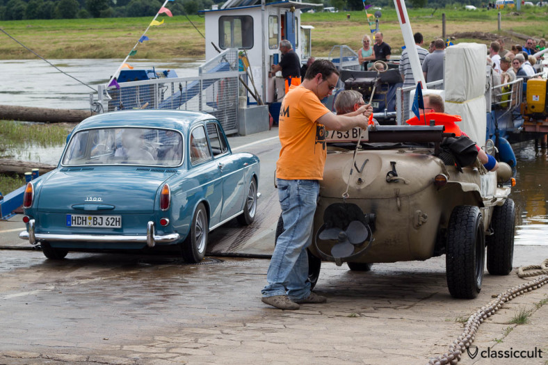 VW Type 3 boarding the ferry from Grossenwieden to Rumbeck, Schwimmwagen getting ready for the River Show, Hessisch Oldendorf, June 22, 2013