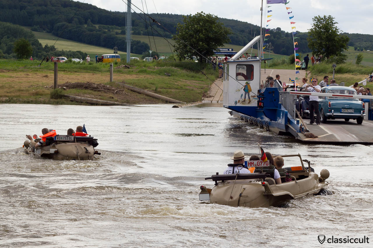 VW Schwimmwagen Typ 166 in Weser River with the car ferry from Grossenwieden to Rumbeck, June 22, 2013