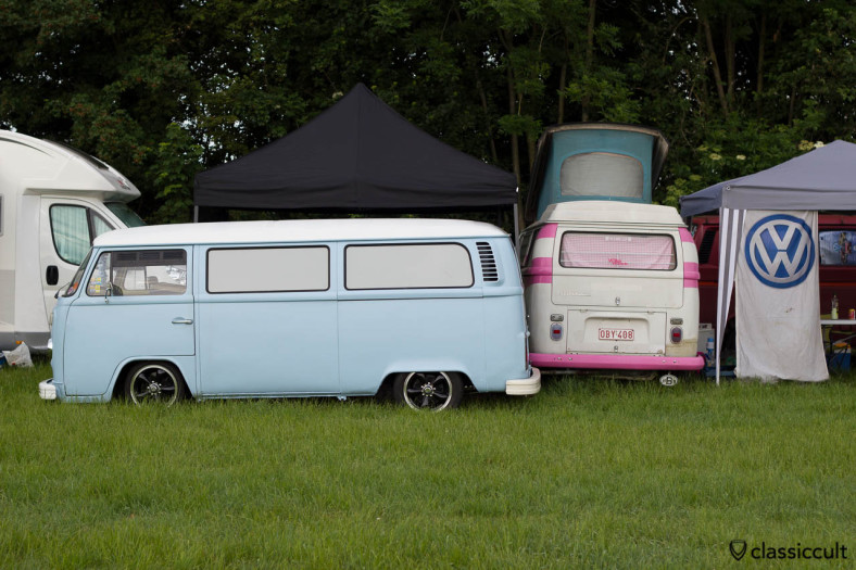 slammed VW T2b Bay and 1971 T2a Westfalia Pop-Top Camper from Belgium, camping at IKW Wanroij