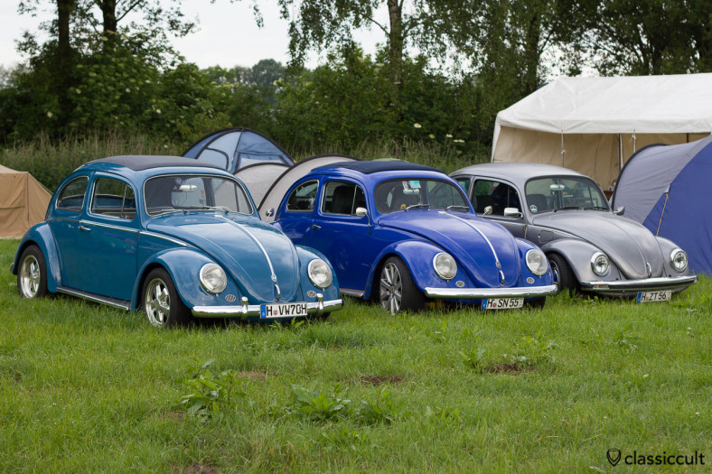 slammed Ragtop Beetles from Hannover Germany, in the middle is an Oval Ragtop, Kever Weekend 2013