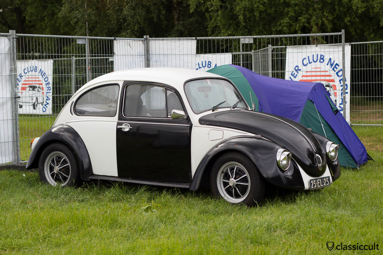 black and white VW Beetle with sprint stars wheels, camping at IKW 2013