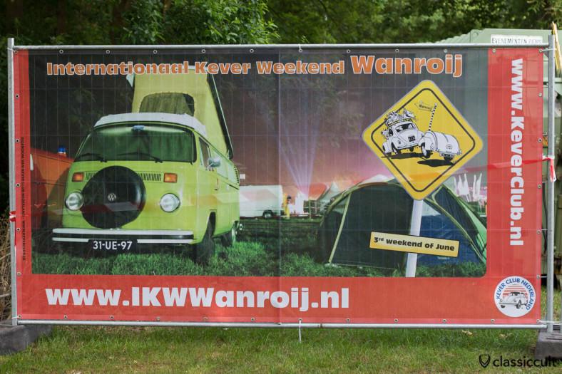 Internationaal Kever Weekend Wanroij advertising banner with VW Late Bay Camper Bus