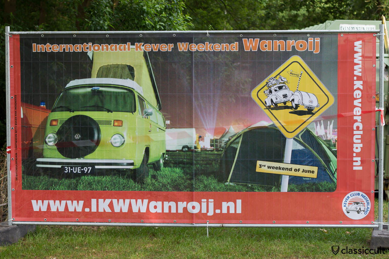 Internationaal Kever Weekend Wanroij advertising banner with VW Late Bay Camper Bus