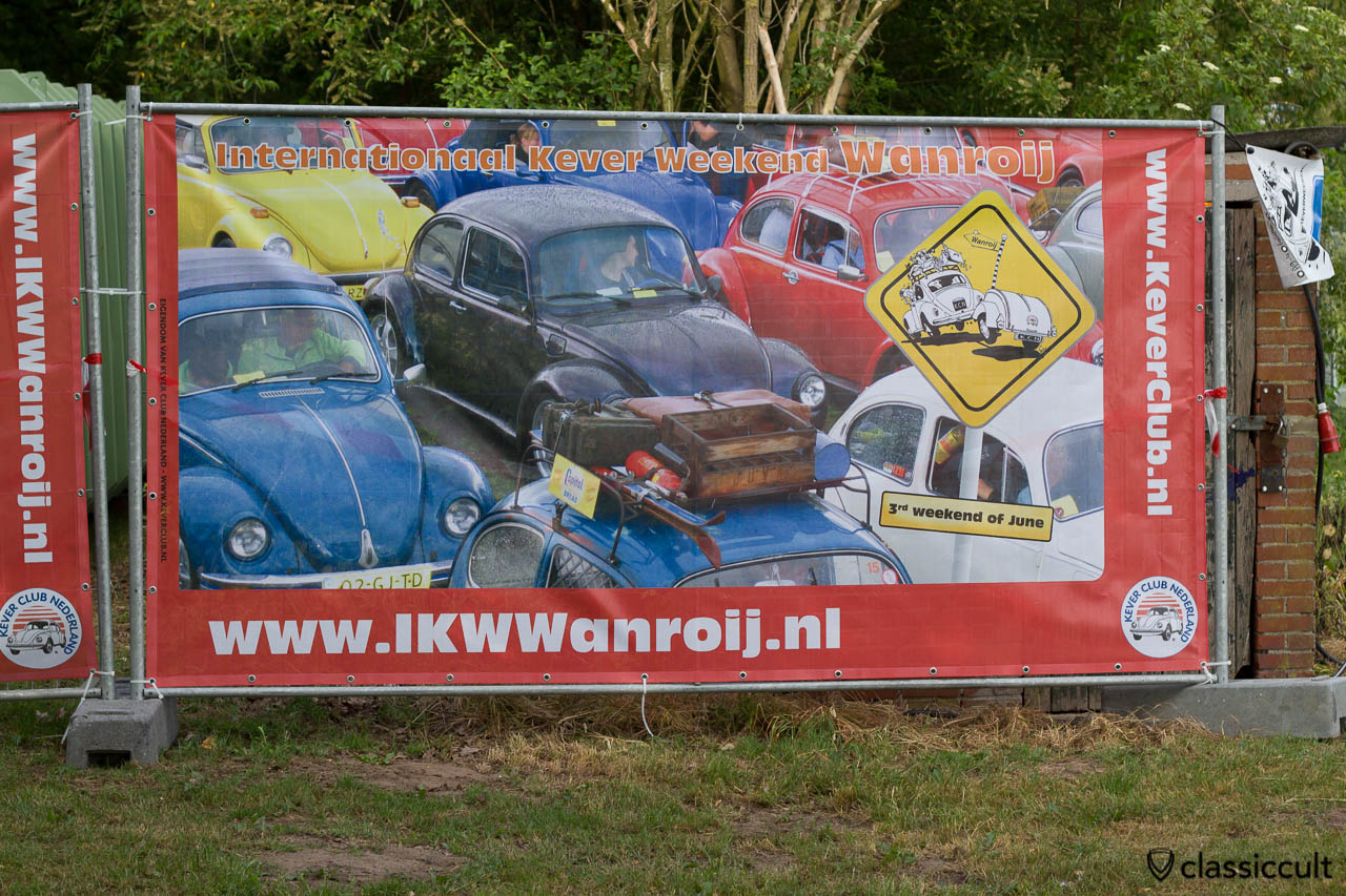 Internationaal Kever Weekend Wanroij advertising banner with VW Beetles