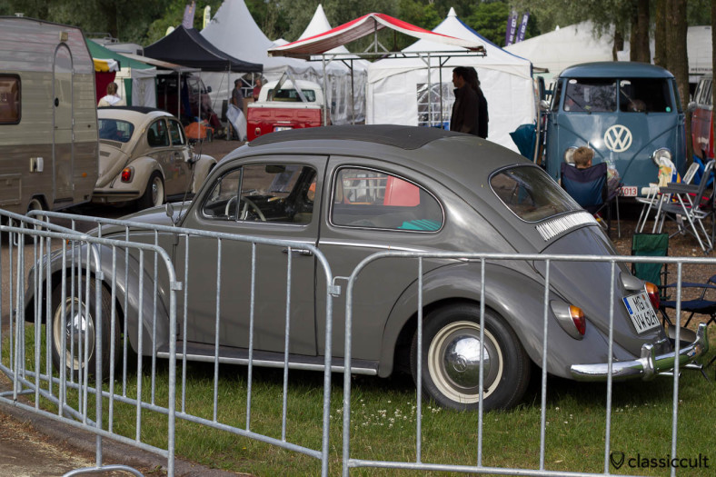 1962 VW Ragtop Bug from Germany, parking at the IKW market