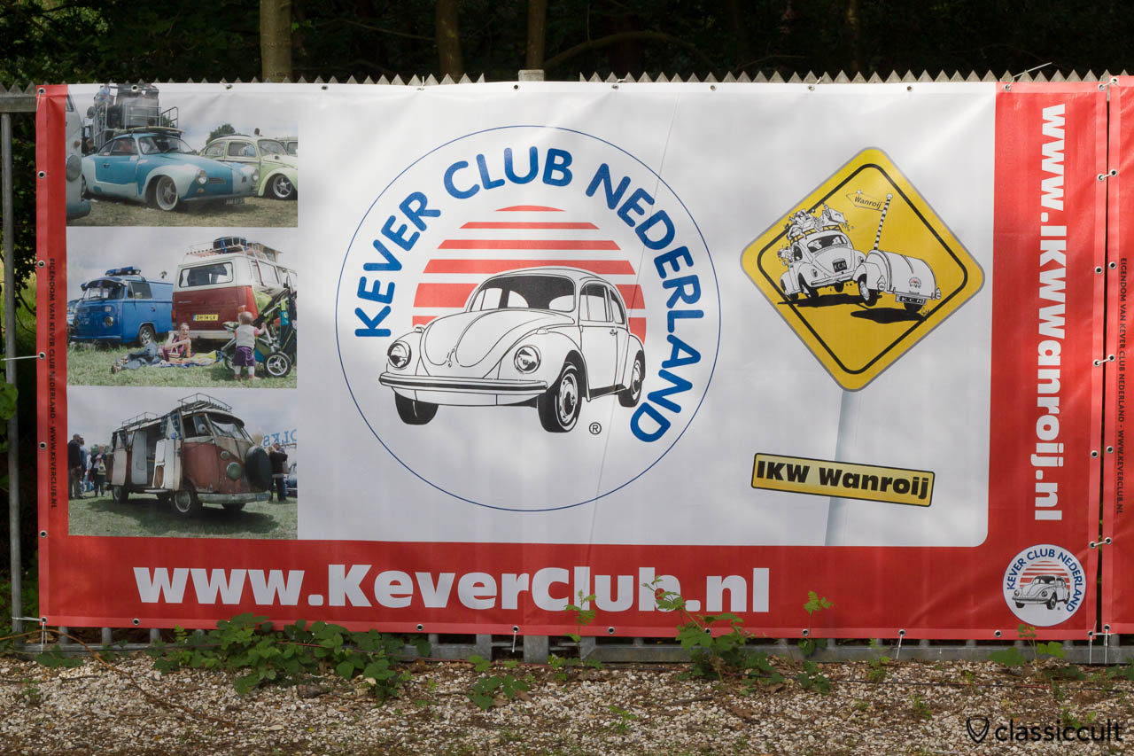 Internationaal Kever Weekend Wanroij advertising banner with VW Karmann Gia, VW T1 T2 Bus Show & Shine and Kever Club Nederland