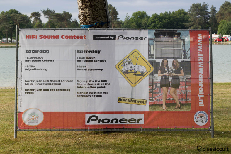 Internationaal Kever Weekend Wanroij advertising banner with Hifi Sound Contest powered by Pioneer