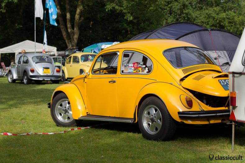 slammed yellow VW Bug