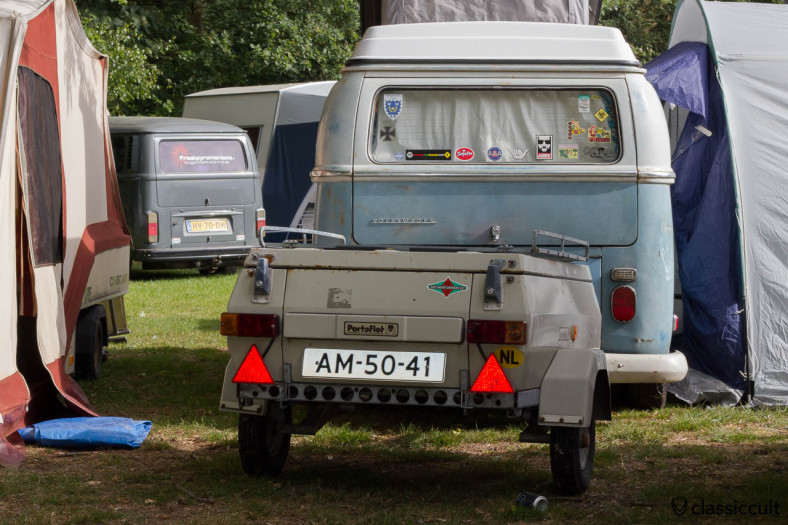 VW Camper Van from Nederland with camping trailer, Kever Weekend Wanroij 2013
