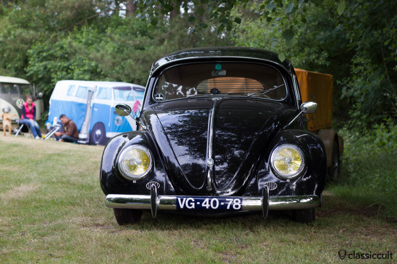 black VW Oval Bug, aircooled folks camp