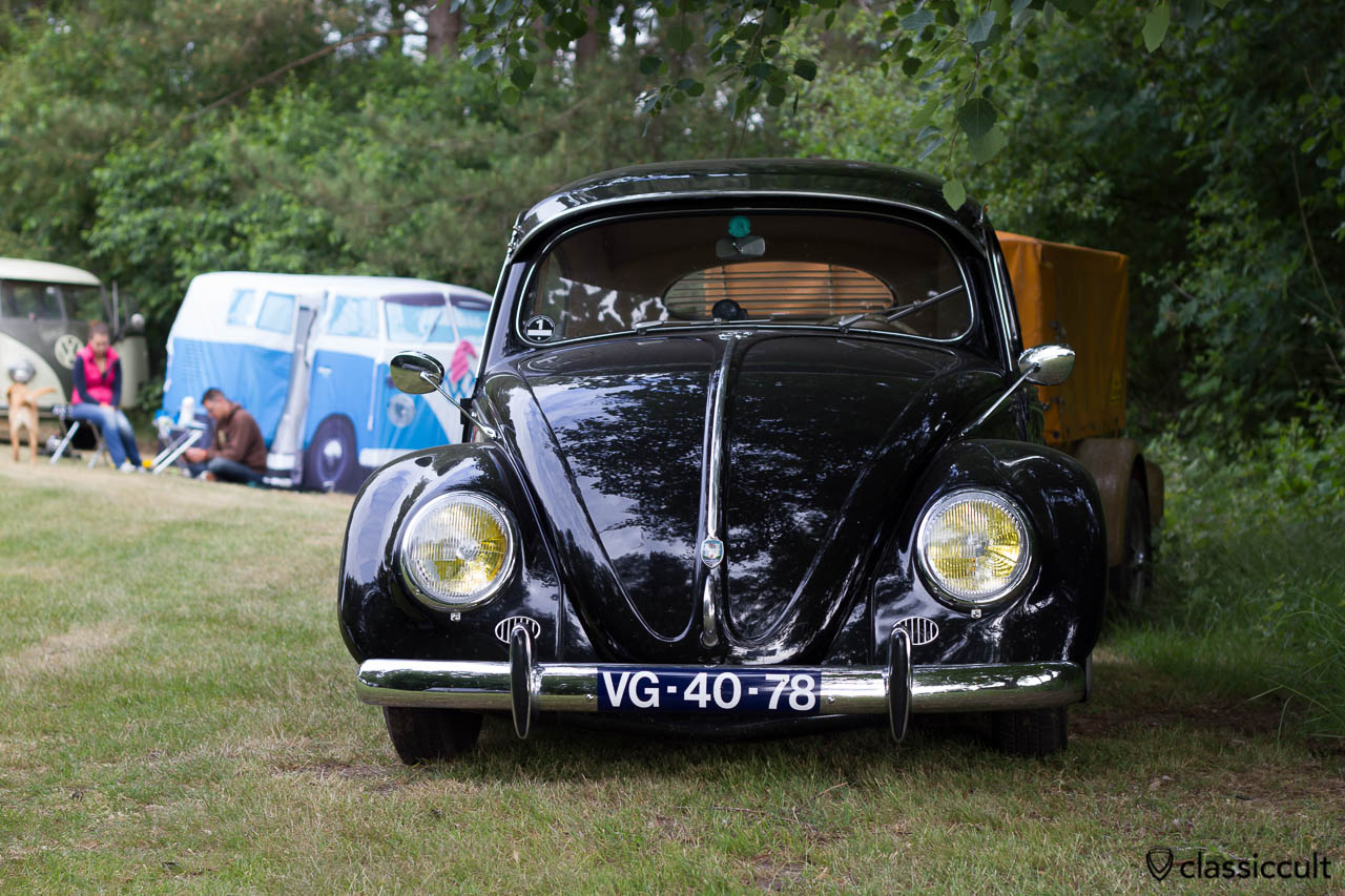 black VW Oval Bug, aircooled folks camp