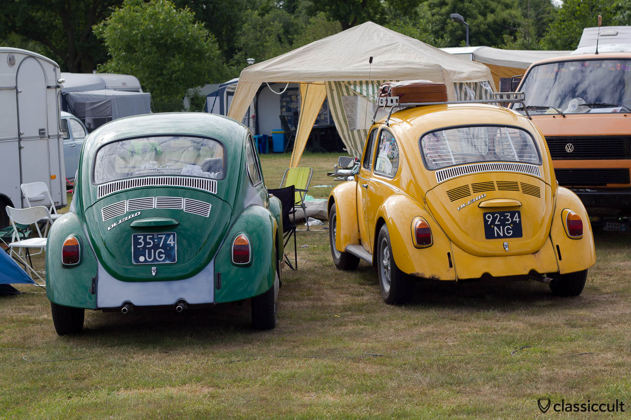 two VW 1300 Beetles without bumper