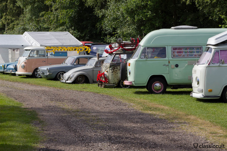 air-cooled VW lineup with T2a Westy, T2b Camper, T1 Kombi, Bug, Type 3, T1 Single Cab