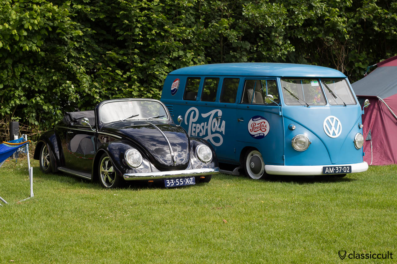 Pepsi Cola VW Split T1 Bus and convertible VW Beetle