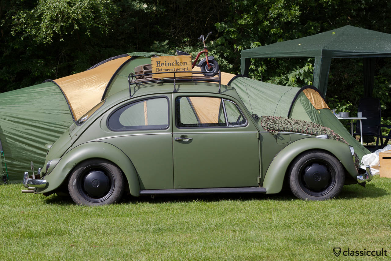 VW Kever with roof rack and Heineken Box