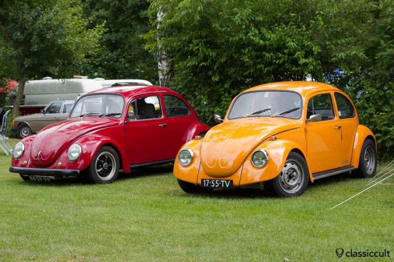 red and orange VW Kever