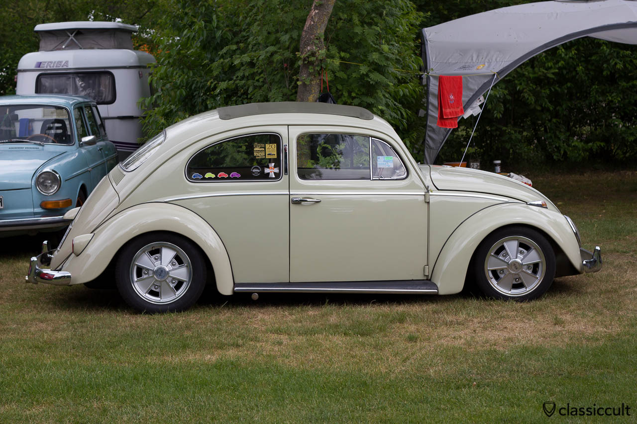 slammed Ragtop VW Beetle with BRM wheels