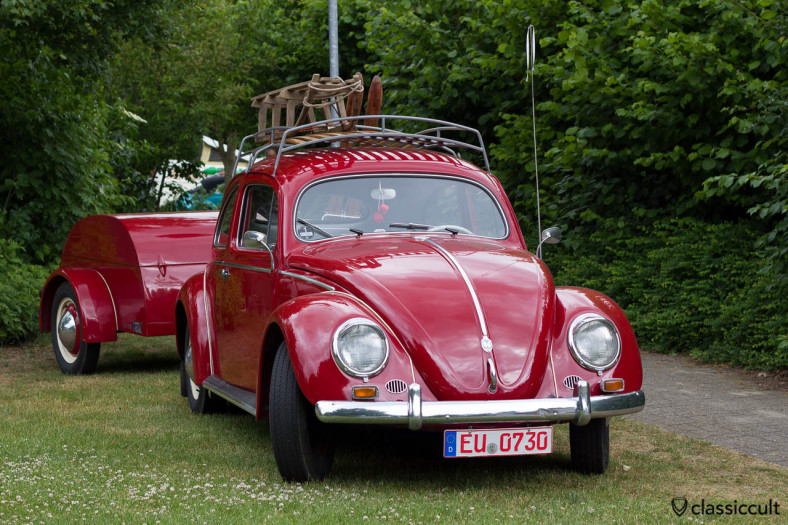 VW Beetle with period correct vintage trailer