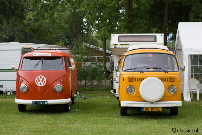 red VW T1 Panel Bus and yellow T2b Camper