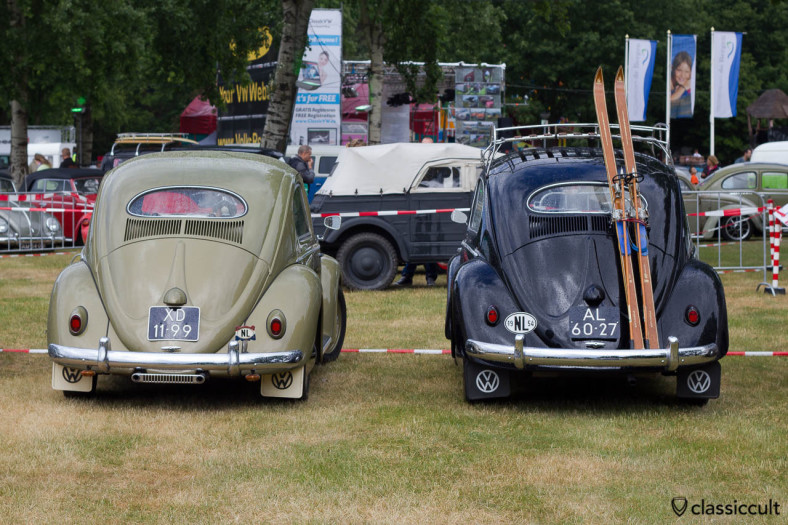 1954 Oval Bug and 1957 Oval Bug, backside view, they have different tail lights