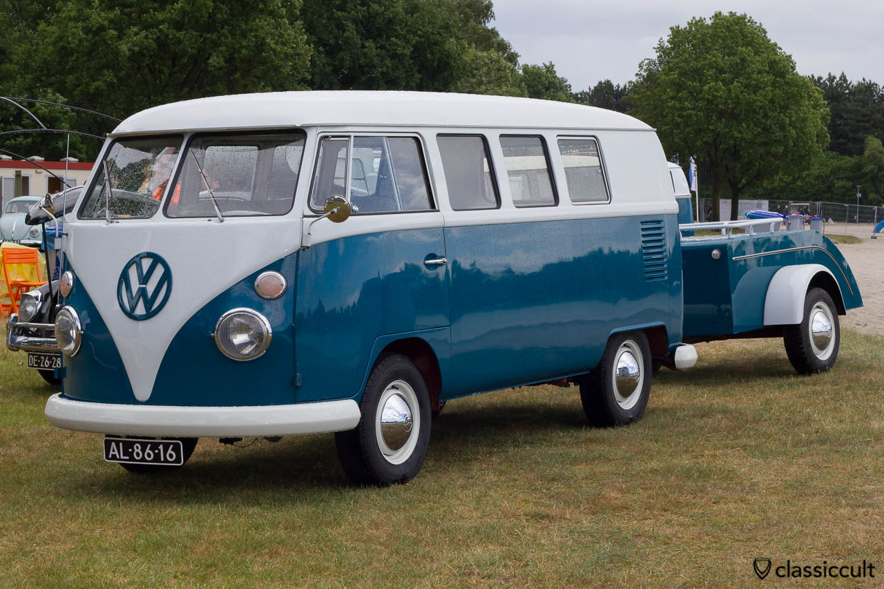 VW Split Bus with vintage trailer