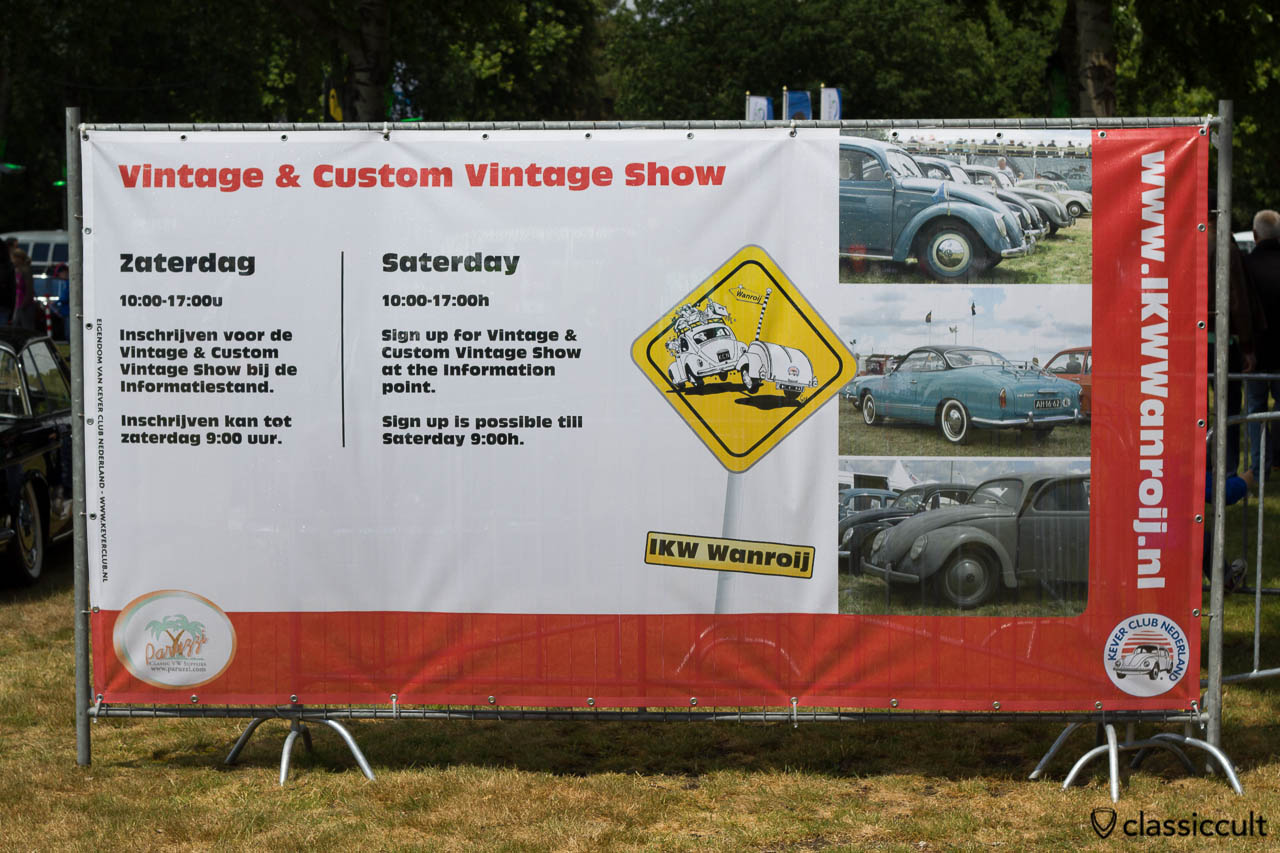 Internationaal Kever Weekend Wanroij advertising banner with Vintage & Custom Vintage Show