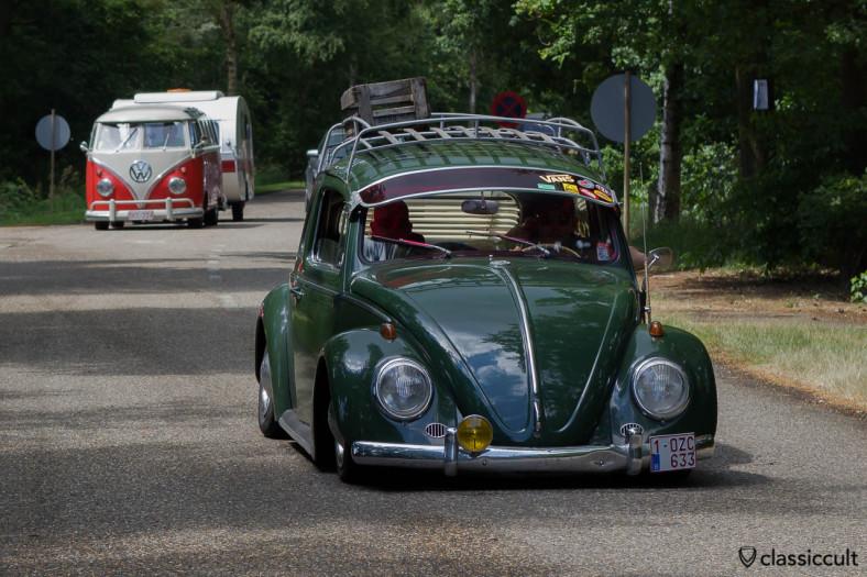 slammed VW Beetle driving near the entrance to De Bergen Wanroij