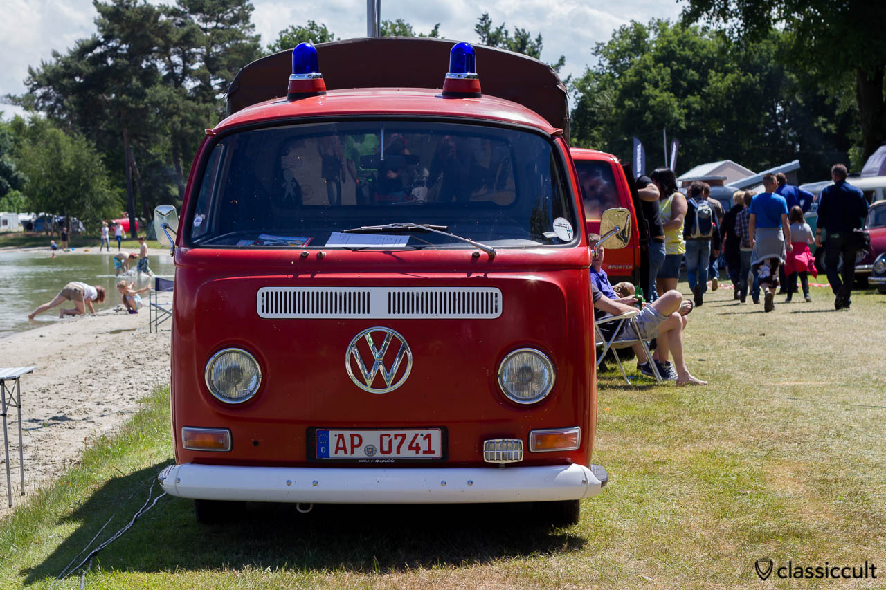 VW Double Cab Fire Bus with two spinning blue lights