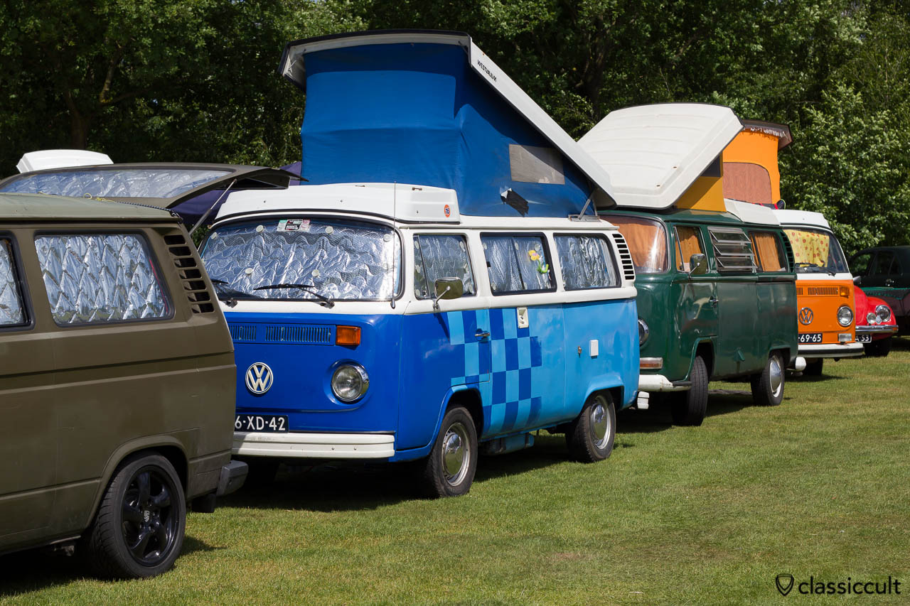 three VW Westfalia PopTop Camper T2