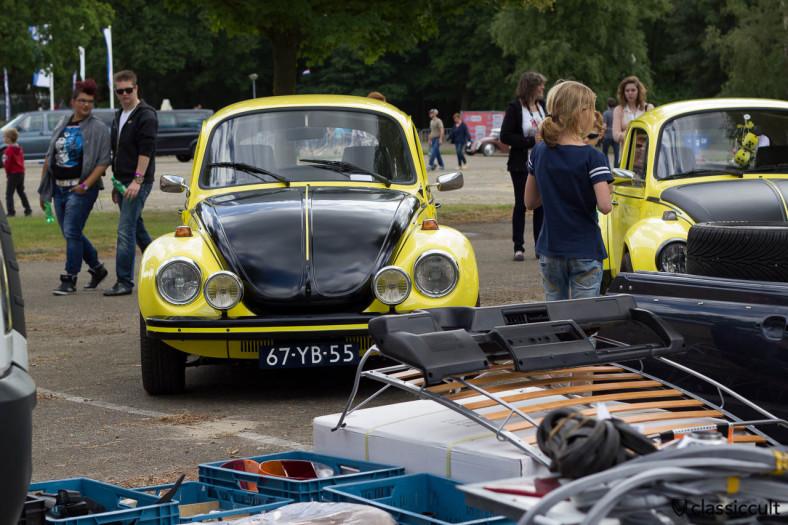 VW Beetle gelb schwarzer Renner with Cibie foglights
