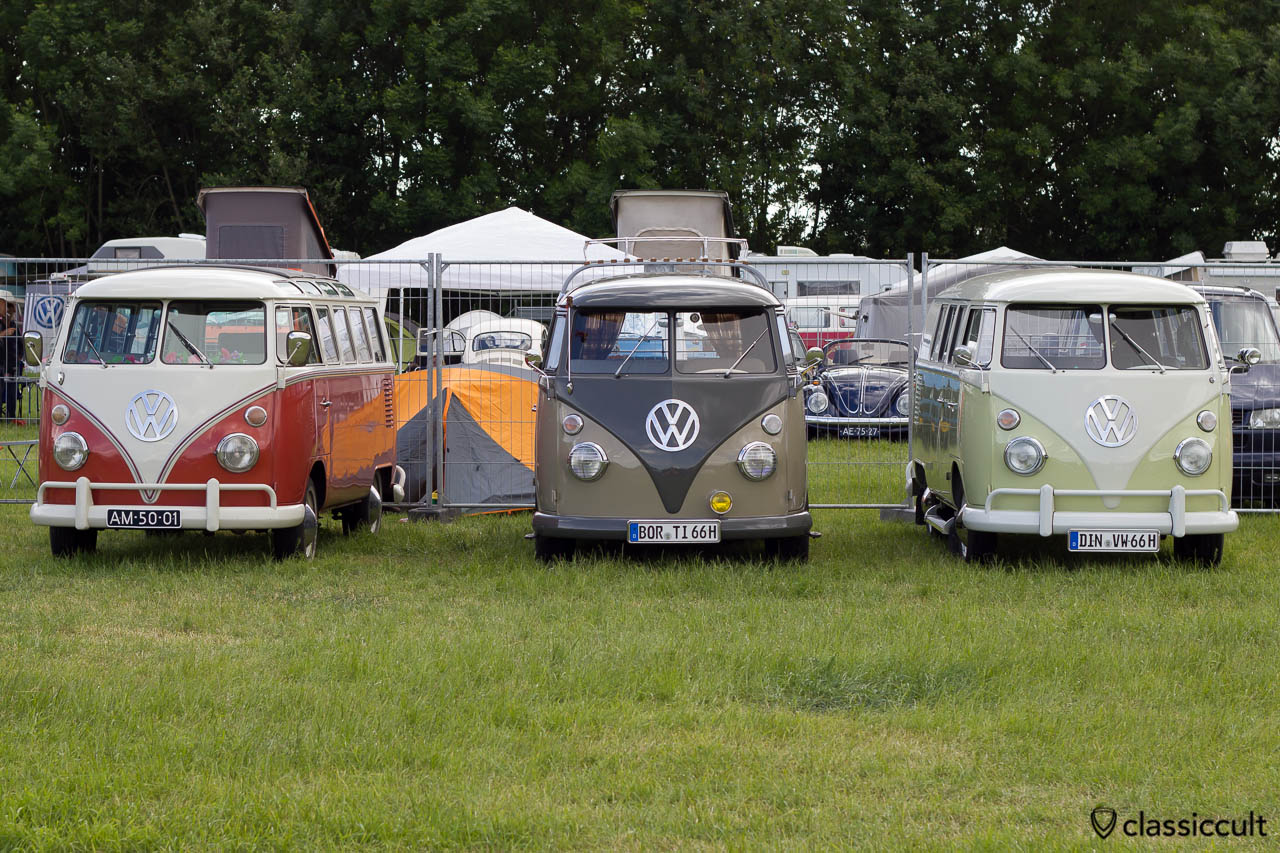 three VW T1 Split Bus